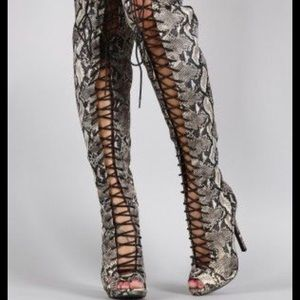NWB Liliana peep toe corset lace-up thigh high